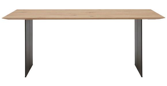 ESSTISCH Asteiche massiv quadratisch Eichefarben, Schwarz - Eichefarben/Schwarz, Design, Holz/Metall (200/100/77cm) - Dieter Knoll