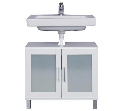 WASCHBECKENUNTERSCHRANK 65/56/33 cm - Silberfarben/Weiß, KONVENTIONELL, Glas/Holzwerkstoff (65/56/33cm) - Xora