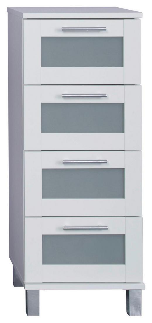 SEITENSCHRANK Weiß - Silberfarben/Weiß, KONVENTIONELL, Glas/Holzwerkstoff (35/89/33cm) - Xora