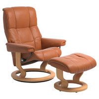 Sesselset Mayfair M Echtleder Hocker, Relaxfunktion - Orange/Naturfarben, Design, Leder/Holz (79/101/73cm) - Stressless