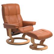 Sesselset Mayfair M Echtleder Hocker, Relaxfunktion - Orange/Naturfarben, Design, Leder/Holz (79/101/73cm) - Stressless