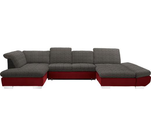 WOHNLANDSCHAFT in Textil Braun, Weinrot - Chromfarben/Weinrot, Design, Kunststoff/Textil (211/350/204cm) - Xora