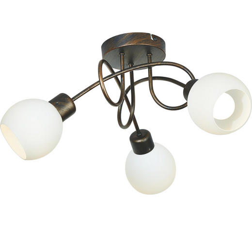 LED-STRAHLER - Rostfarben/Weiß, LIFESTYLE, Glas/Metall (52/19cm)