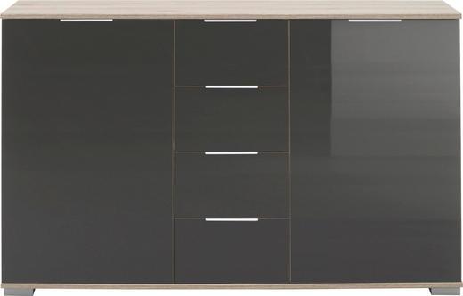 ANRICHTE in Grau, Eichefarben - Eichefarben/Alufarben, Design, Glas/Holzwerkstoff (130 83 41cm) - Carryhome