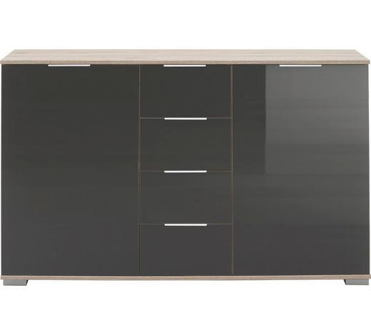 ANRICHTE in Grau, Eichefarben - Eichefarben/Alufarben, Design, Glas/Holzwerkstoff (130/83/41cm) - Carryhome