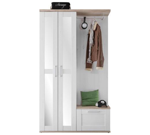 GARDEROBE Weiß, Lärchefarben - Lärchefarben/Weiß, KONVENTIONELL, Glas (115/201/38cm) - Xora
