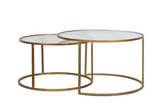 BEISTELLTISCHSET rund Goldfarben - Goldfarben, Design, Glas/Metall (65/75/39/44cm)