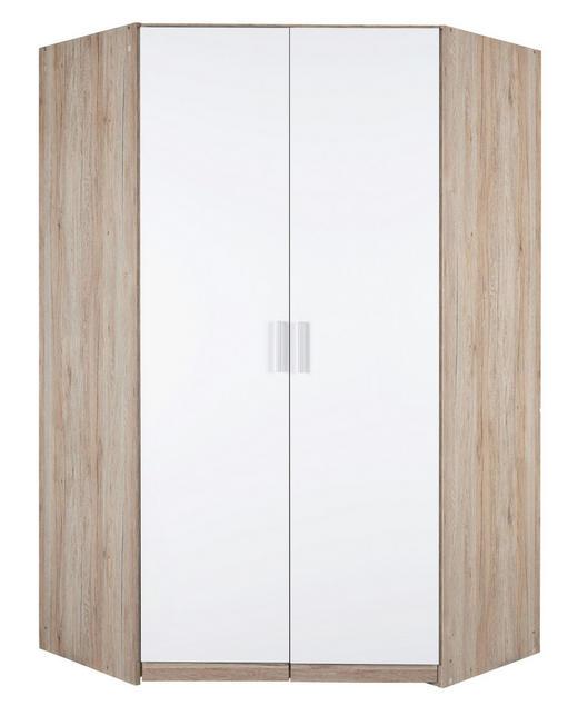 ECKSCHRANK Eichefarben, Weiß - Eichefarben/Alufarben, KONVENTIONELL, Holzwerkstoff/Kunststoff (117/117cm) - Carryhome