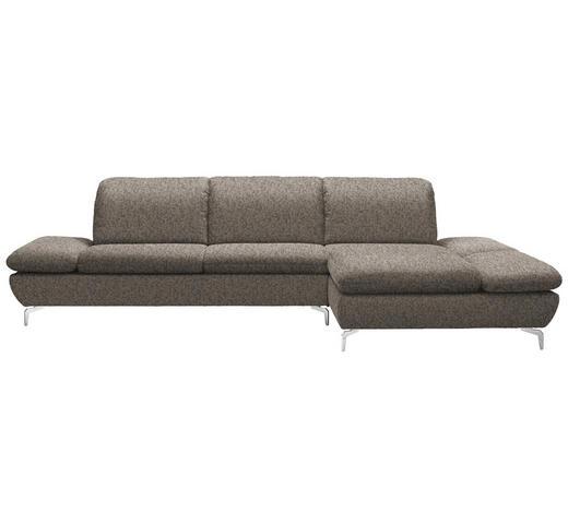 WOHNLANDSCHAFT in Textil Braun  - Silberfarben/Braun, Design, Textil/Metall (315/200cm) - Chilliano