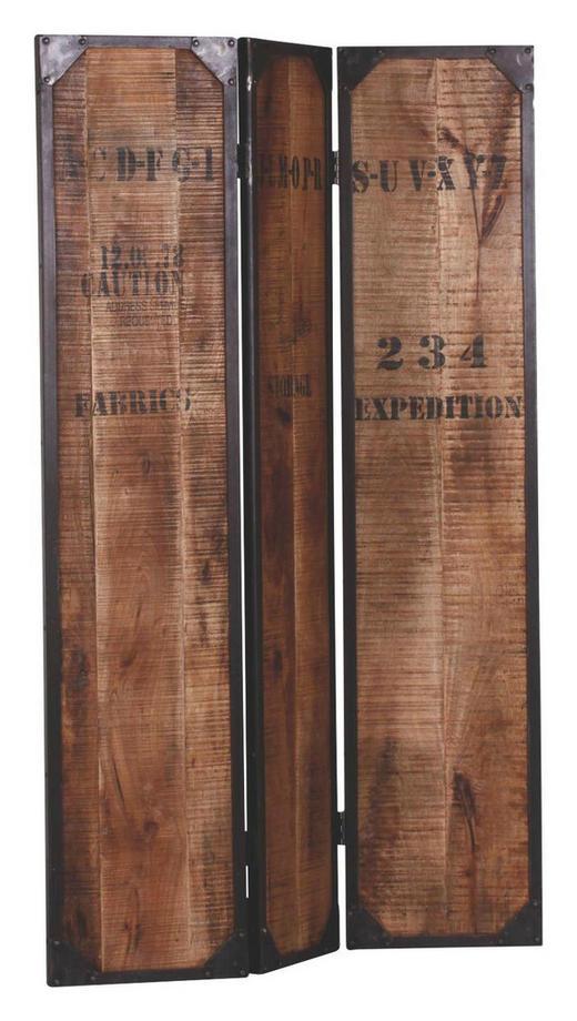 PARAVENT Holz, Metall Mangoholz massiv Braun - Braun, Design, Holz/Metall (114/175/3cm)