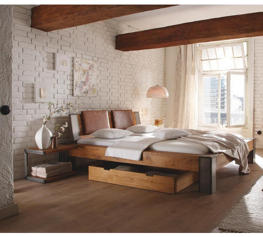 BETT Wildeiche massiv 160/200 cm  - Chromfarben/Eichefarben, Design, Holz (160/200cm) - Hasena
