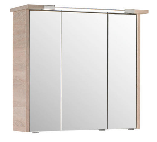 SKŘÍŇKA SE ZRCADLEM, barvy dubu - barvy dubu, Design, kompozitní dřevo/sklo (75/72/20cm) - Xora