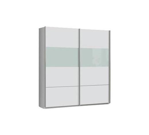SCHWEBETÜRENSCHRANK in Weiß - Alufarben/Weiß, Design, Glas/Holz (182,3/203,3/61,2cm) - Carryhome