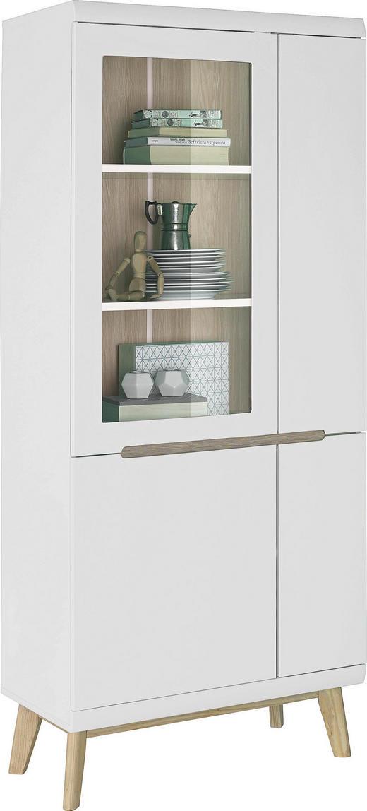 VITRINE Eichefarben, Weiß - Eichefarben/Weiß, Trend, Glas/Holz (80/185/42cm) - Ambia Home