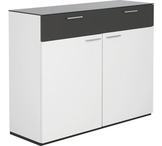 KOMMODE Grau, Weiß - Chromfarben/Weiß, Design, Holzwerkstoff/Metall (120/96,9/40,1cm) - Hülsta