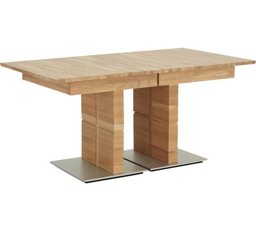 ESSTISCH in Holz 160(210)/90/75 cm - Edelstahlfarben/Eichefarben, Natur, Holz (160(210)/90/75cm) - Celina Home