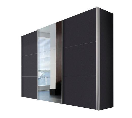 SCHWEBETÜRENSCHRANK 3-türig Graphitfarben - Graphitfarben/Alufarben, KONVENTIONELL, Glas/Holzwerkstoff (300/216/68cm) - Hom`in