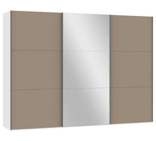 SCHWEBETÜRENSCHRANK 3-türig Weiß, Hellbraun  - Hellbraun/Silberfarben, Design, Glas/Holzwerkstoff (303,1/220/65cm) - Jutzler