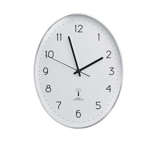 WANDUHR 27,3/34,9/4,3 cm - Silberfarben/Schwarz, Basics, Glas/Kunststoff (27,3/34,9/4,3cm) - Boxxx