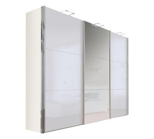 SCHWEBETÜRENSCHRANK in Grau, Weiß - Alufarben/Weiß, Design, Glas/Holzwerkstoff (300/236/68cm) - Hom`in