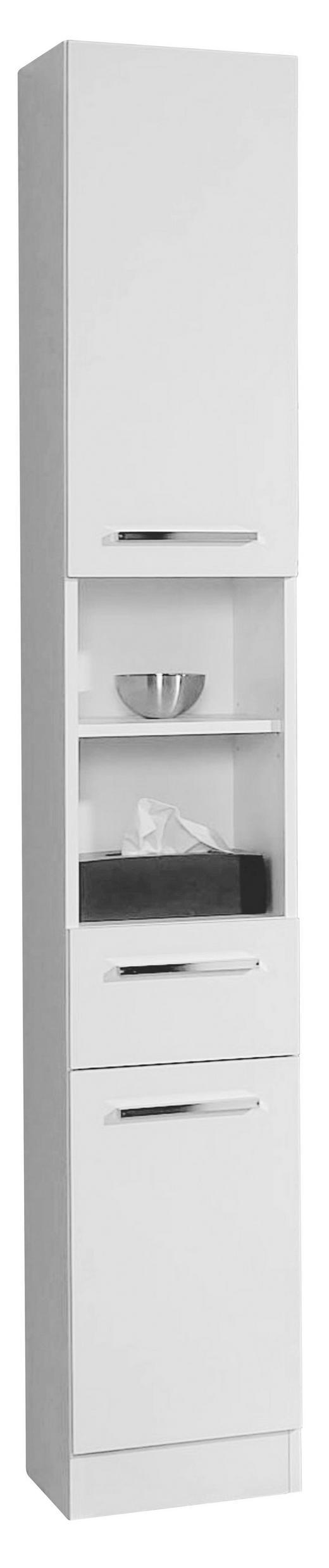 HOCHSCHRANK Weiß - Chromfarben/Weiß, Design, Holzwerkstoff (30/195,5/33cm) - Carryhome