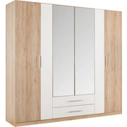 DREHTÜRENSCHRANK in Eichefarben, Weiß - Eichefarben/Alufarben, KONVENTIONELL, Glas/Holzwerkstoff (226/212/56cm) - Boxxx