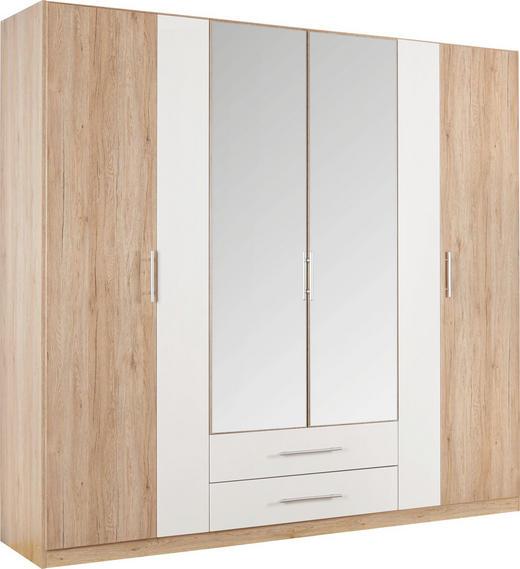 DREHTÜRENSCHRANK in Weiß, Eichefarben - Eichefarben/Alufarben, KONVENTIONELL, Glas/Holzwerkstoff (226/212/56cm) - Boxxx