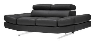 ZWEISITZER-SOFA Echtleder Anthrazit - Chromfarben/Anthrazit, Design, Leder (194/93/106cm) - Novel