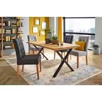 STUHL Webstoff Eiche massiv Grau, Eichefarben  - Eichefarben/Grau, Design, Holz/Textil (48/95/61cm) - Carryhome
