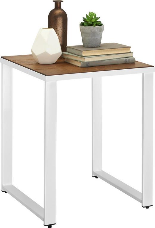 BEISTELLTISCH quadratisch Braun, Weiß - Weiß/Braun, Design, Holz/Metall (40/49/40cm)
