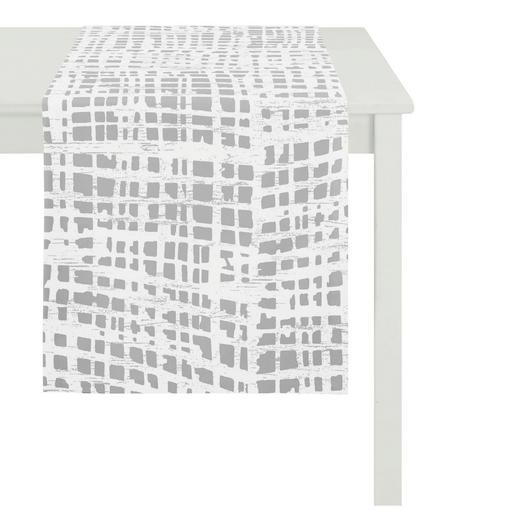 TISCHLÄUFER Textil Ausbrenner Silberfarben, Weiß 48/140 cm - Silberfarben/Weiß, LIFESTYLE, Textil (48/140cm)