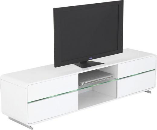TV-ELEMENT Weiß - Chromfarben/Weiß, Design, Metall (175/44/40cm)