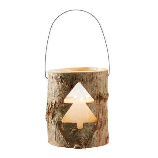 WINDLICHT - Naturfarben, Basics, Glas/Holz (21/26cm) - X-Mas