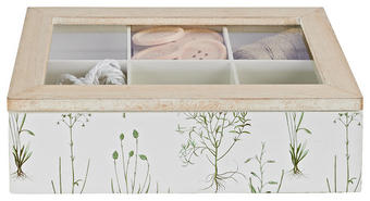 DEKORATIONSLÅDA - vit/grön, Trend, metall/glas (23/7/16cm) - Ambia Home