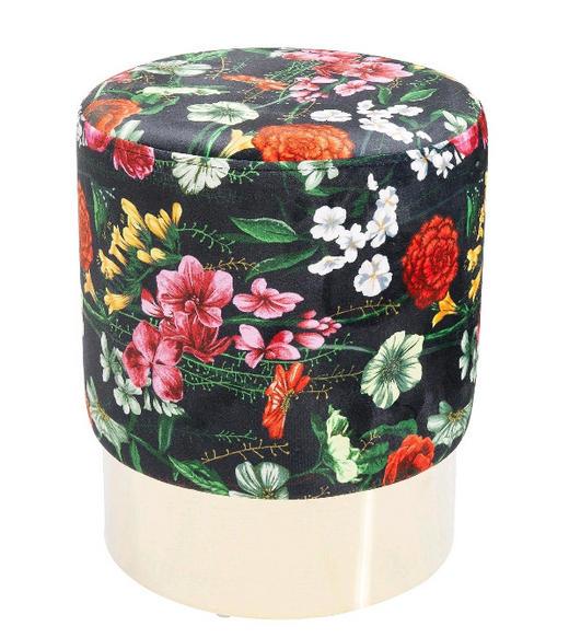 HOCKER Samt Multicolor, Schwarz - Messingfarben/Multicolor, Trend, Textil/Metall (35/42cm) - Kare-Design