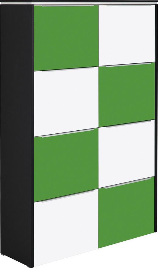 SCHUHSCHRANK lackiert Anthrazit, Grün, Weiß - Anthrazit/Silberfarben, Design, Glas/Metall (119/177/36cm) - Cassando