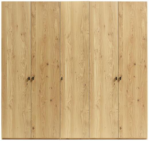 DREHTÜRENSCHRANK 5  -türig Asteiche furniert, mehrschichtige Massivholzplatte (Tischlerplatte) Eichefarben - Eichefarben/Dunkelgrau, LIFESTYLE, Leder/Holz (247,2/214,8/64cm) - Anrei