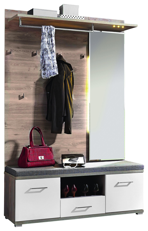 HALLINREDNING - vit/silvereksfärgad, Design, träbaserade material (131/199/39cm)