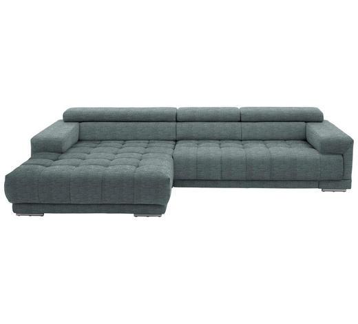 WOHNLANDSCHAFT in Textil Blau - Blau/Silberfarben, Design, Textil/Metall (190/335cm) - Beldomo Style