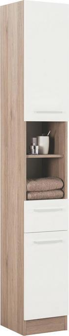 HOCHSCHRANK - Chromfarben/Eichefarben, Design, Holzwerkstoff/Metall (30/195,5/33cm) - XORA