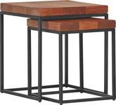 BEISTELLTISCHSET in Holz, Metall 50/50/58 cm   - Akaziefarben, Design, Holz/Metall (50/50/58cm) - Carryhome