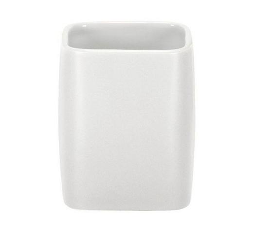 Lonček za ščetke CUBIC - bela, Konvencionalno, keramika (9,1/7,4cm) - Kleine Wolke