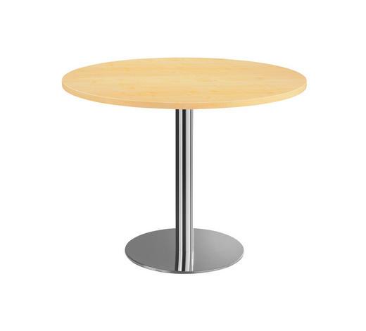 KONFERENZTISCH - Chromfarben/Ahornfarben, KONVENTIONELL, Holzwerkstoff/Metall (100cm)