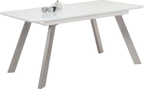 TRPEZARIJSKI STO - Bela/Boja nerđajućeg čelika, Dizajnerski, Metal/Staklo (160(200)/90/76cm) - Carryhome