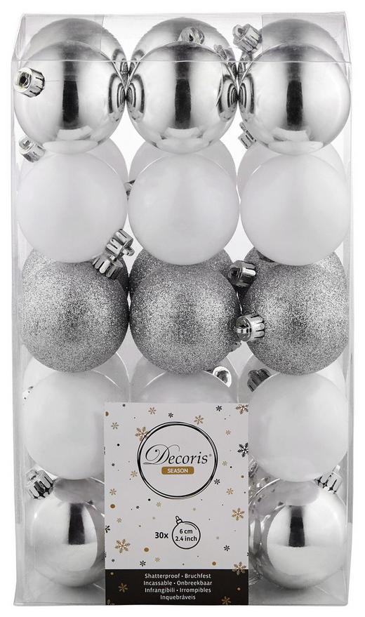 CHRISTBAUMKUGEL-SET  30-teilig Silberfarben, Weiß - Silberfarben/Weiß, Basics, Kunststoff (6cm)
