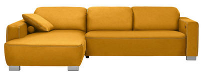 WOHNLANDSCHAFT in Textil Gelb  - Chromfarben/Gelb, Design, Holz/Textil (195/296cm) - Hom`in