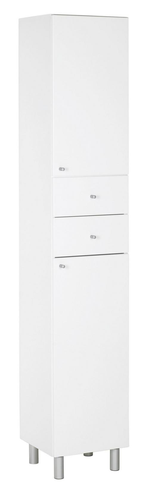 HOCHSCHRANK 35/186/33 cm - Silberfarben/Weiß, KONVENTIONELL, Holz/Holzwerkstoff (35/186/33cm) - Xora