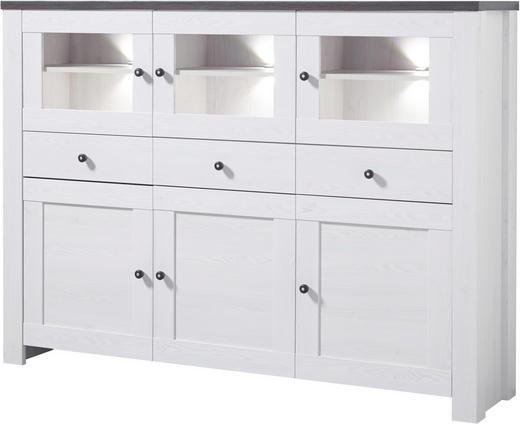 HIGHBOARD - Weiß/Pinienfarben, Design, Glas/Holz (178/130/40cm) - Carryhome