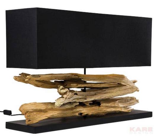 TISCHLEUCHTE - Schwarz/Naturfarben, Design, Holz/Textil (80/52/20cm) - Kare-Design