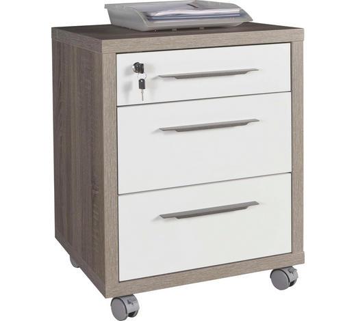 ROLLCONTAINER Weiß, Sonoma Eiche  - Weiß/Bronzefarben, Design, Kunststoff/Metall (48/63/45cm) - Carryhome
